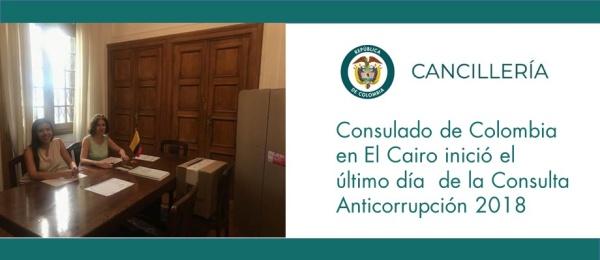 Consulado de Colombia en El Cairo inició el último día  de la Consulta Anticorrupción 2018