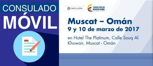 El Consulado de Colombia en El Cairo estará con su unidad móvil en Muscat – Omán, los días 9 y 10 de marzo de 2017
